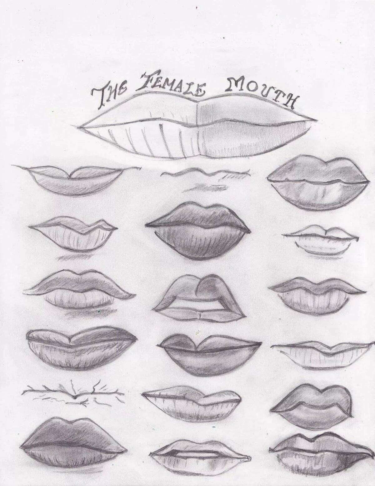 Картинки как рисовать губы