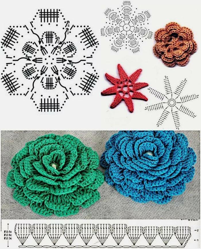 сразу подготовить вязание крючком объемные цветы фото и схемы стены дома