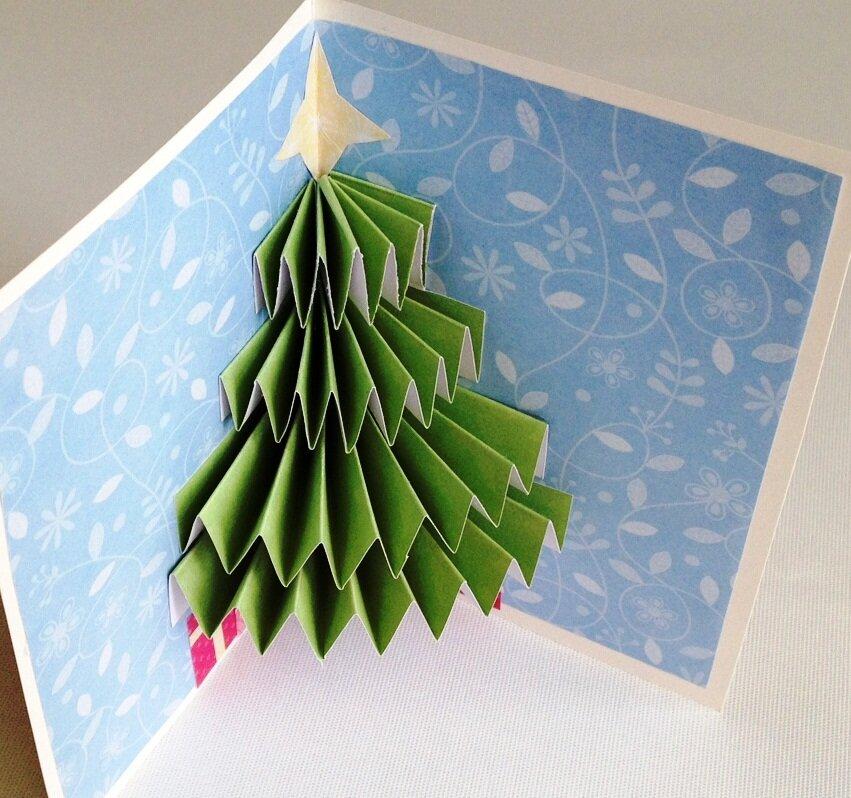 Объемные открытки, как сделать внутри открытки елку объемную