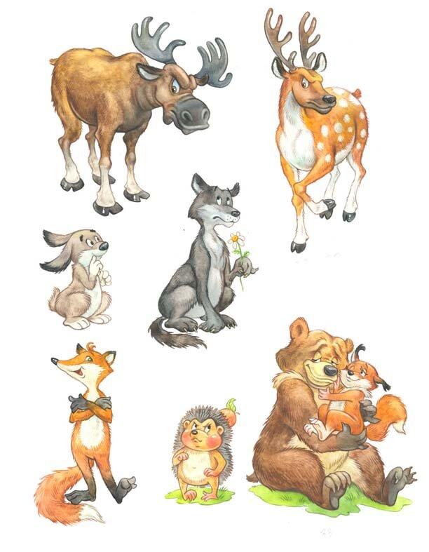 Цветные картинки лесных животных для детей