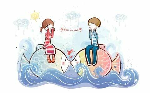 мальчик девочка рисунок рыбы любовь волны вода HD обои для н