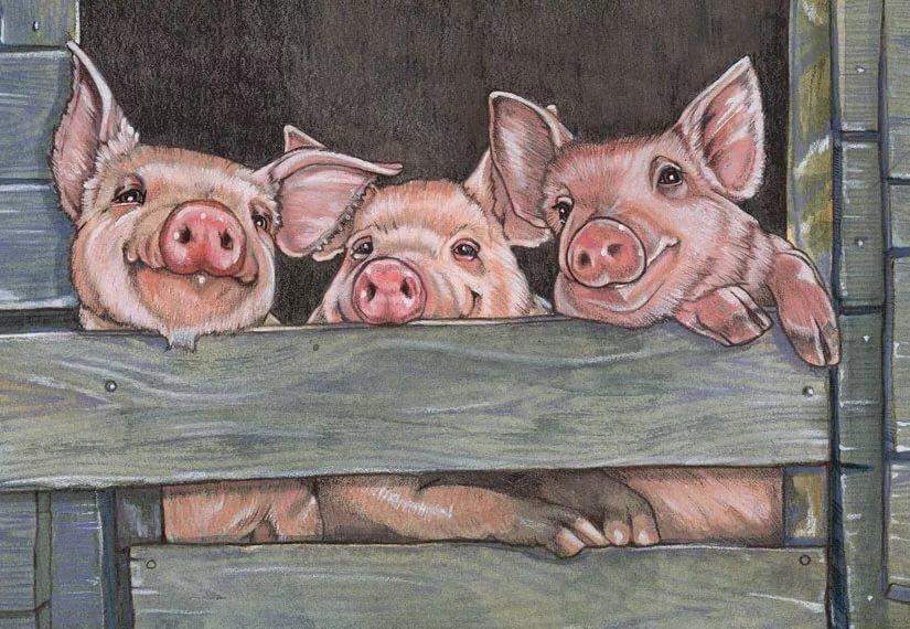 Рисунки свиней смешные, надписями
