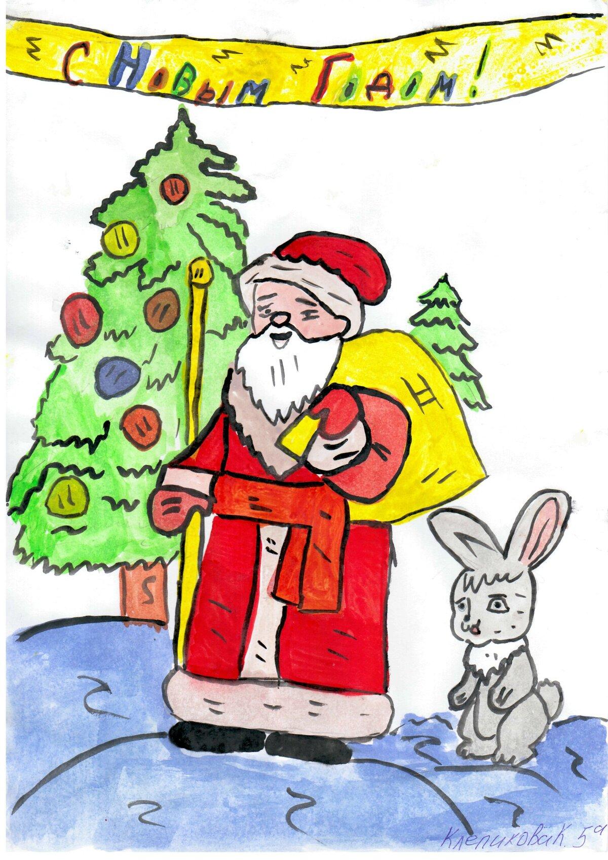 Нарисовать картинки с ребенком с новым годом