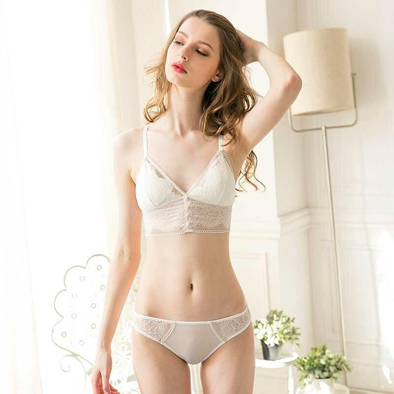 Sexy women underwear set transparent embroidery lace bandage bra sleepwear lingerie set