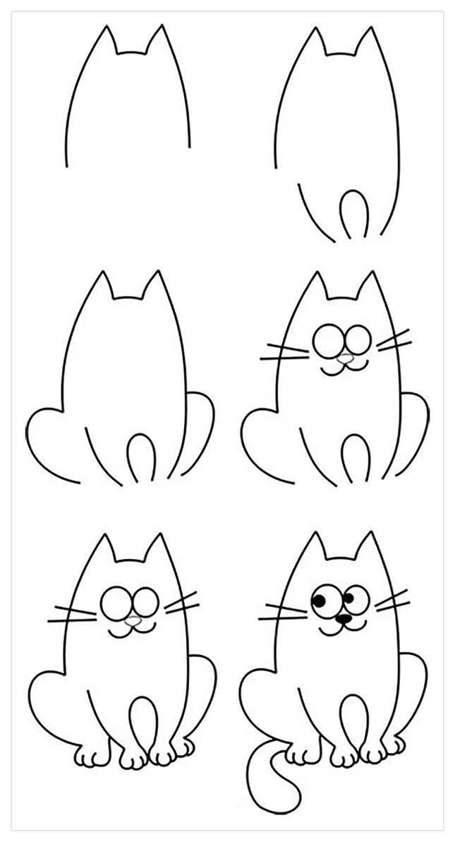 Смешные, смешной рисунок кота поэтапно