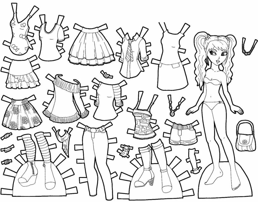 раскраска модница кукла и гардероб из бумаги рассказали