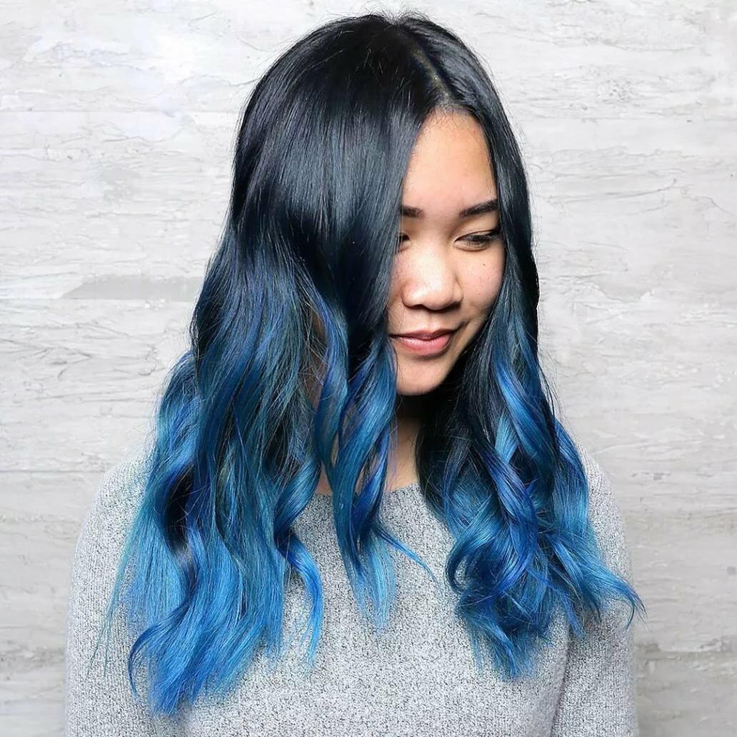 синий серый омбре на концах волос картинки этом рецепте