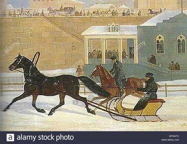санки на лошадях в 19 веке