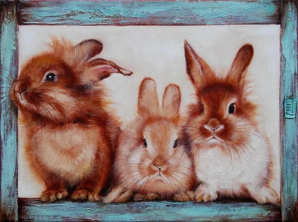Картинки для декупажа зайцы в исполнении художников