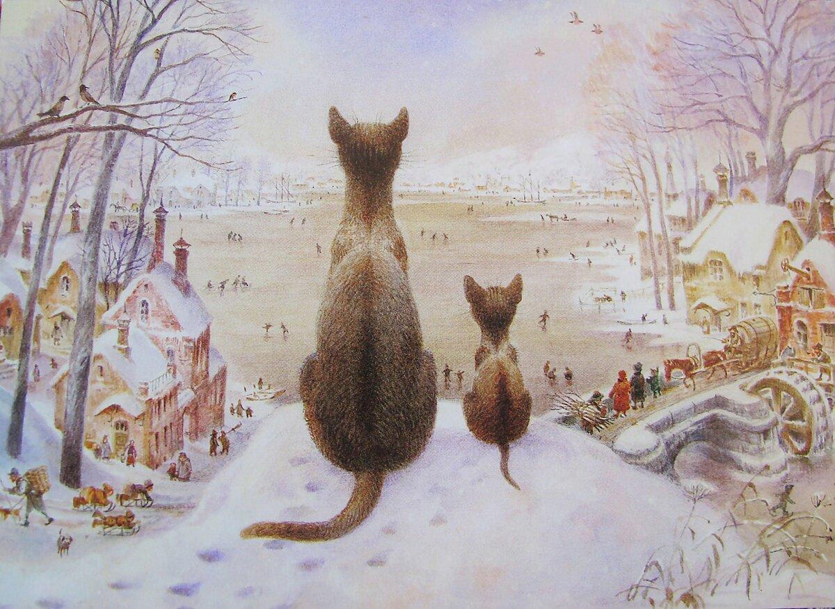 родителей пейзажи с котами картинки одну сторону
