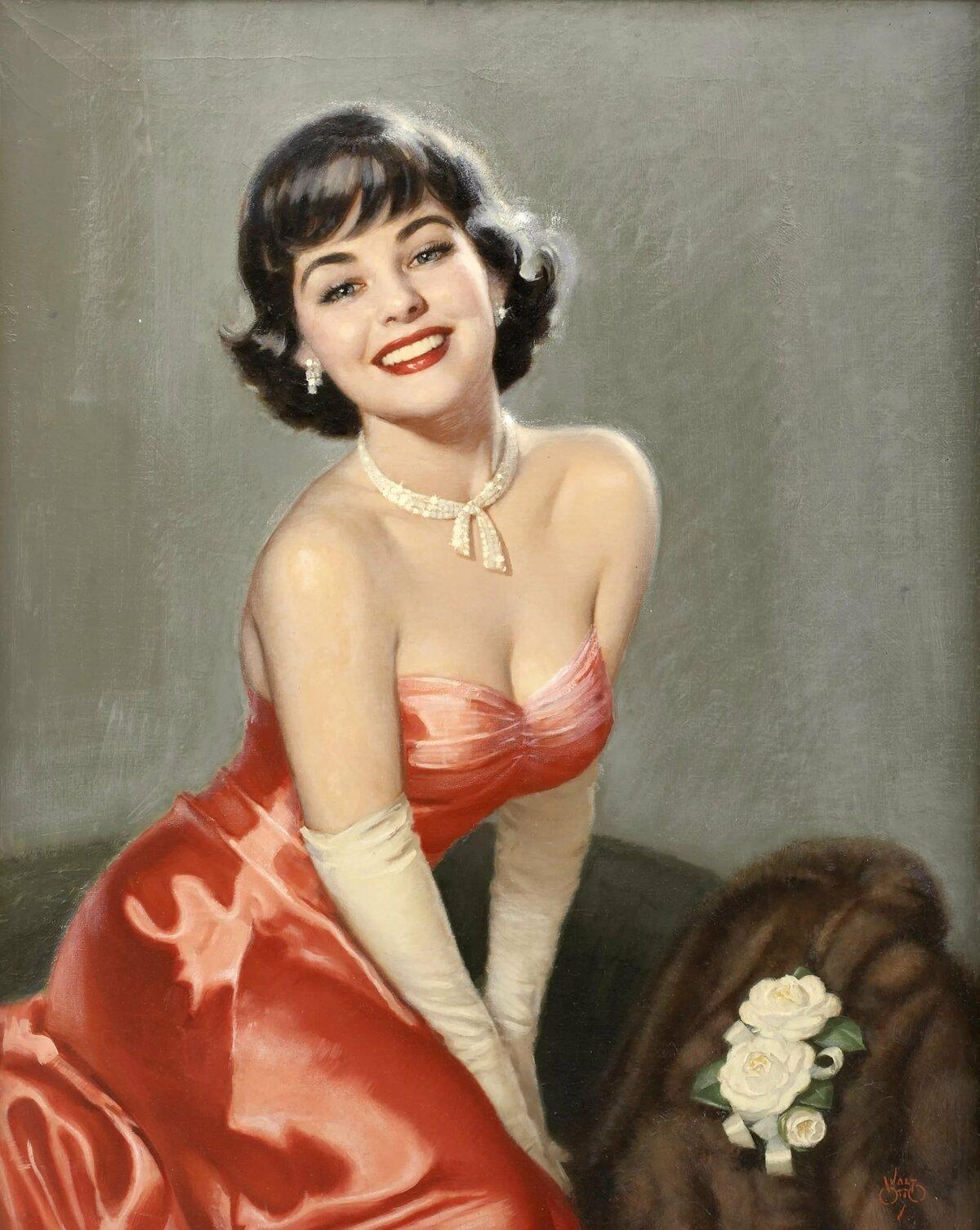 Девушка в стиле ретро картинка