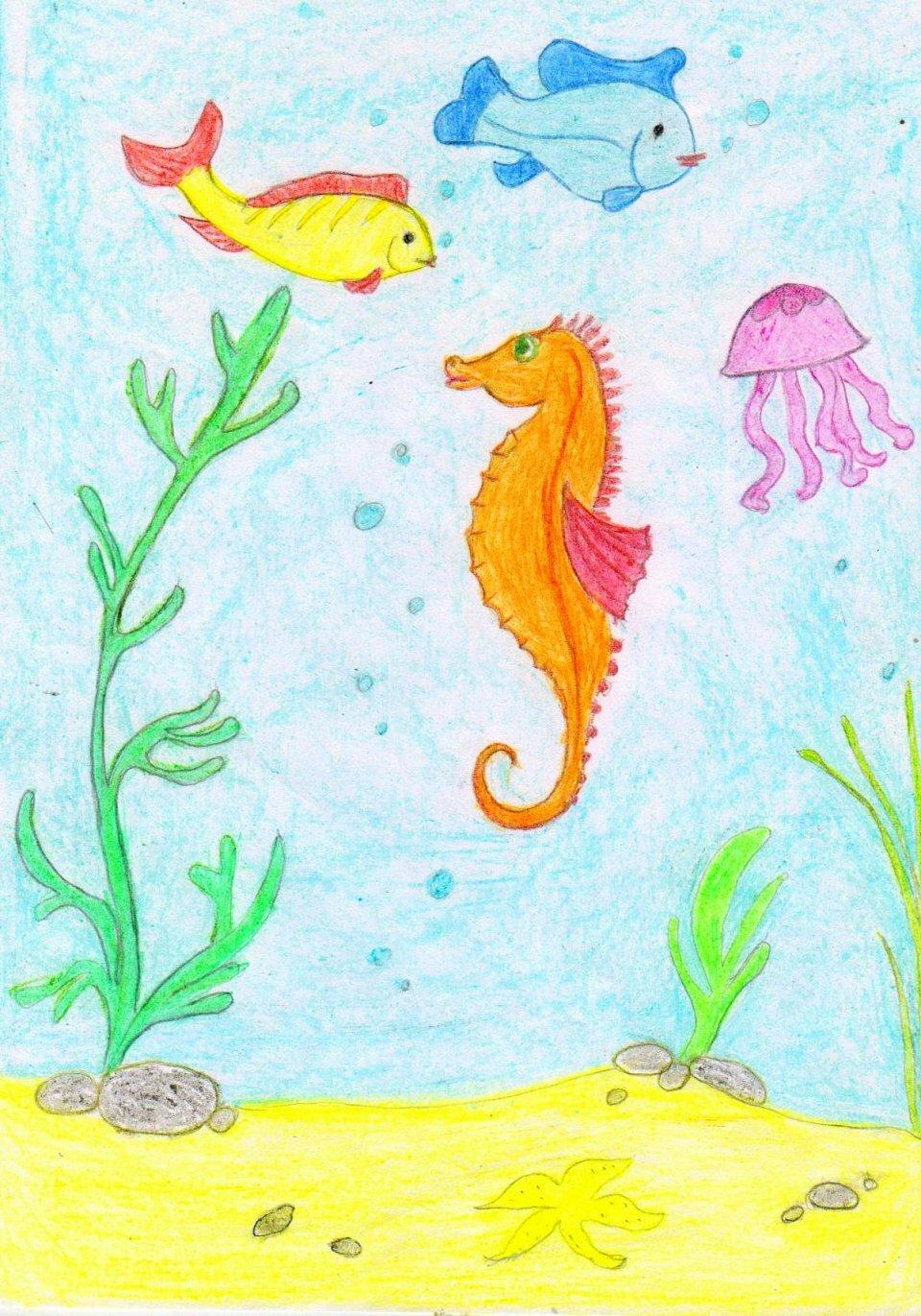рисунок подводное царство красками горький перец зиму