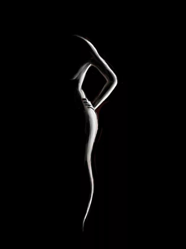 Силуэт девушки черно белые картинки