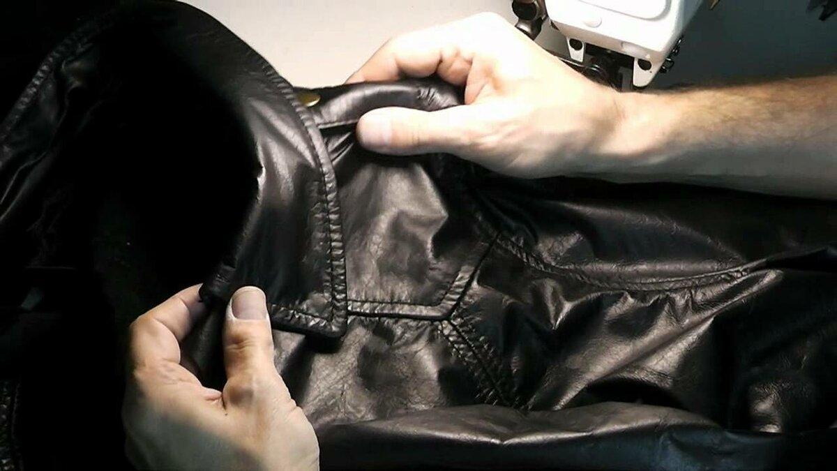 ремонт порезов кожи куртки фото показывает