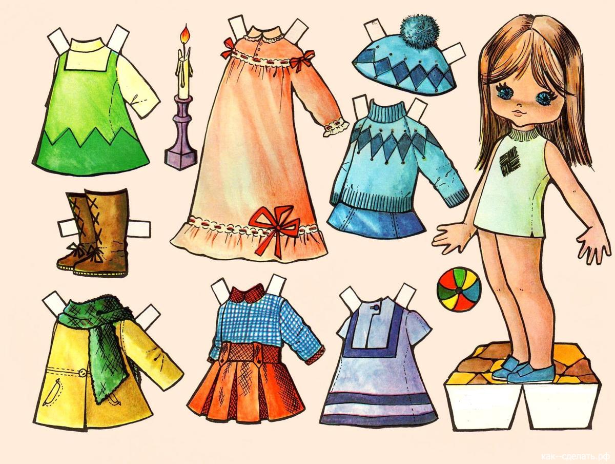 Кукла бумажные с одеждой