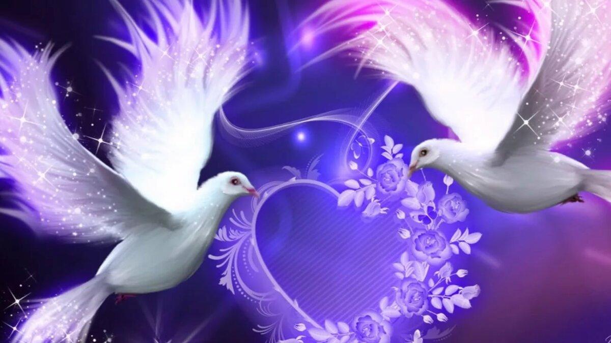 Золотой рыбки, открытка с юбилеем с голубями