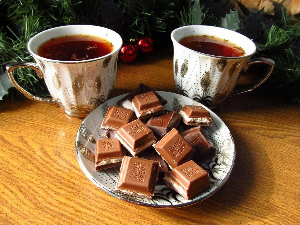 Открытка чай с шоколадом, юбилей лет мужчине