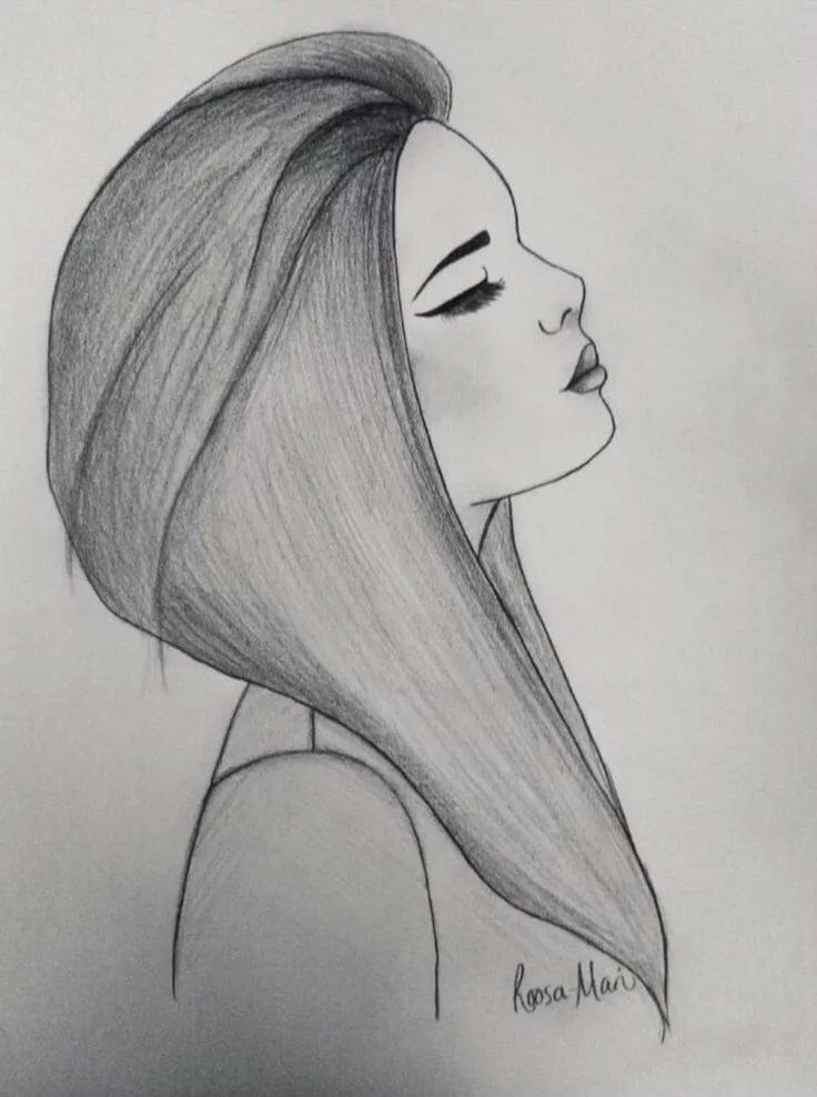 Картинки карандашом рисовать девочек