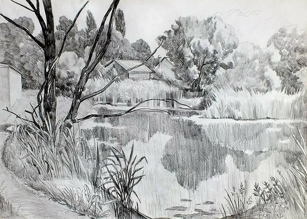 Весна рисунок карандашом, днем