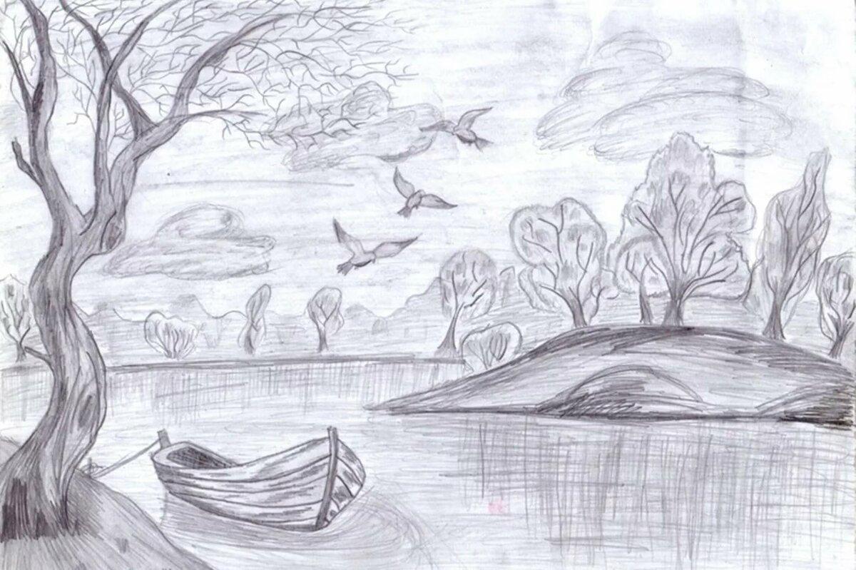 Рисунок природы осень карандашом для детей