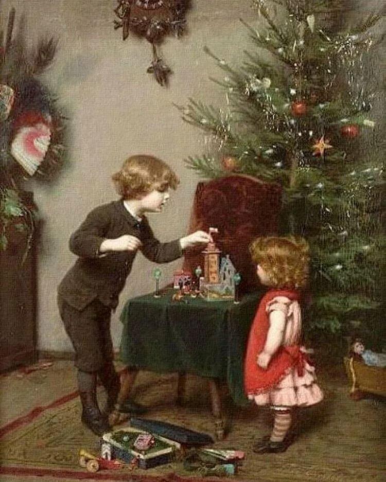 Дети наряжают елку открытка, открытки дню воспитателя