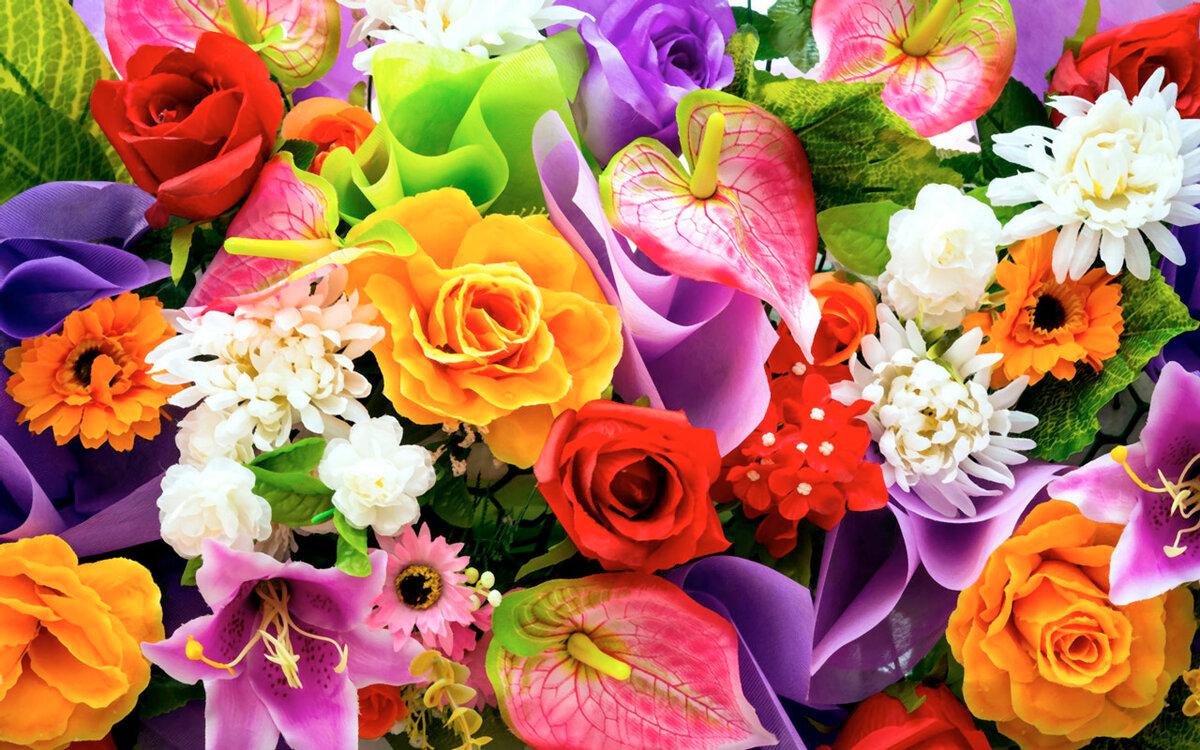 Красивый букет разных цветов картинки