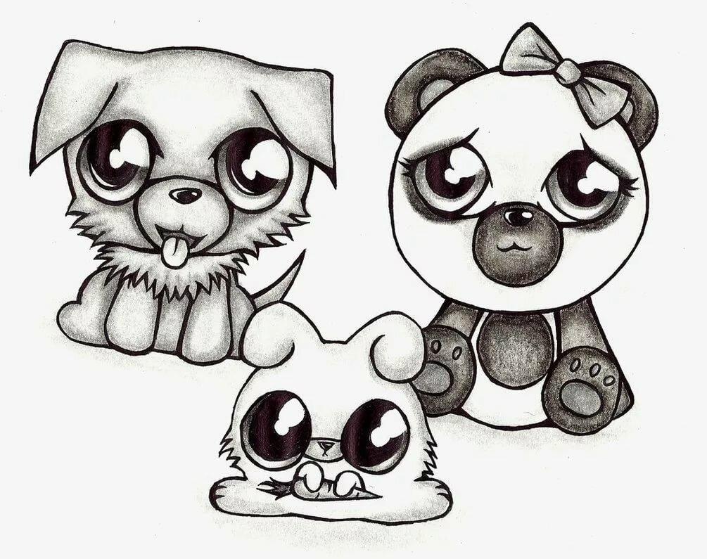 Картинки милых животных для срисовки, дня прикольные картинки