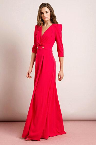 8247baeef94 Красное приталенное с поясом и рукавами строгое вечернее платье ...