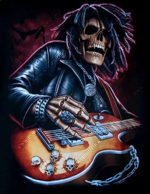фото рок с гитарой скелет свет сменная оптика