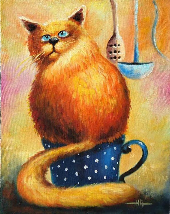 Рисунки с рыжим котом смешные
