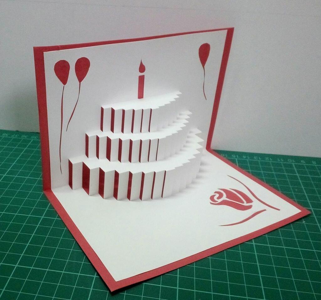Открытка торт из гармошки