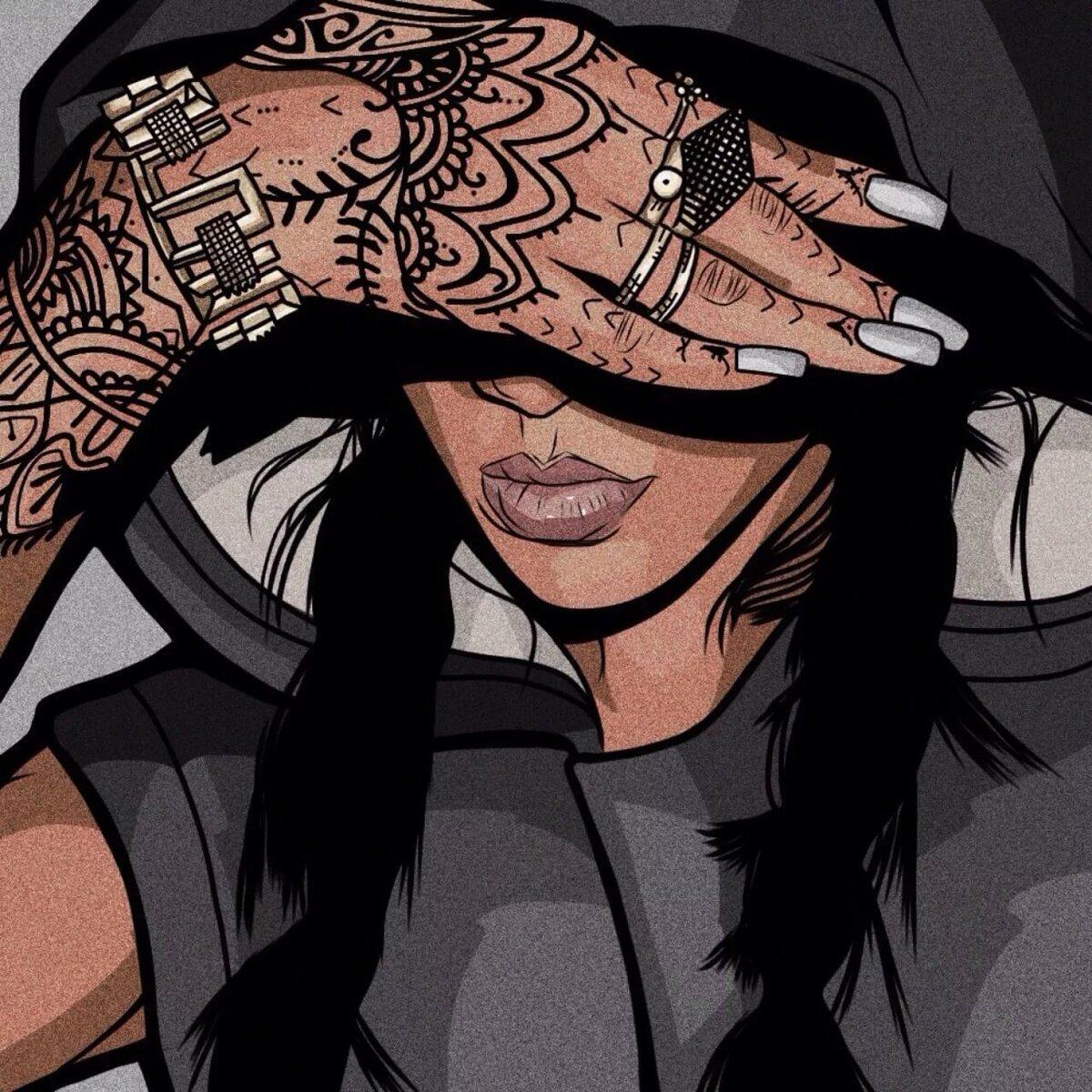Картинки арт девушки брюнетки с татуировкой