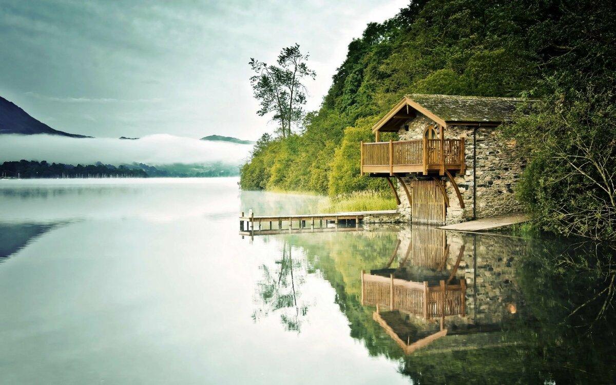 Дом у озера картинки красивые, коллаж