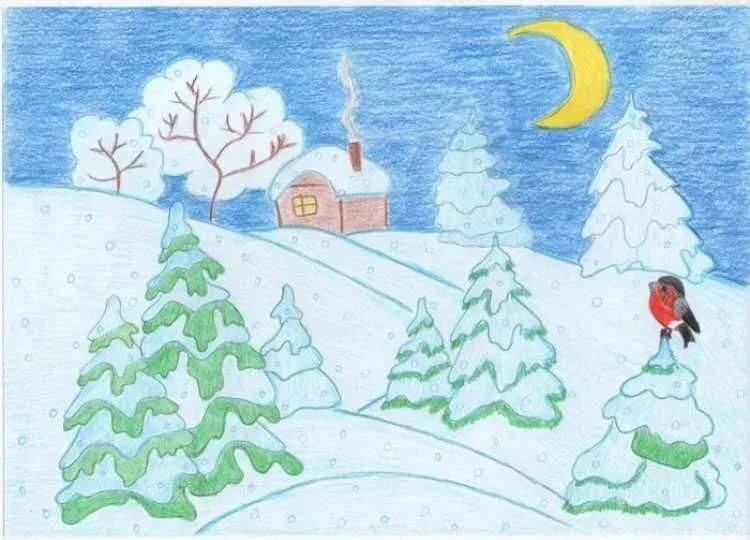 Картинка зимнее утро пушкин раскраска
