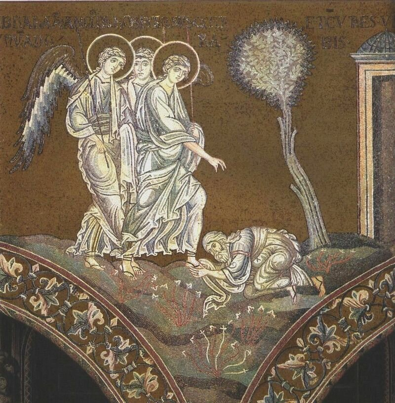 Авраам поклоняется Трём Ангелам под Мамврийским дубом — мозаика собора Монреале (XII век)