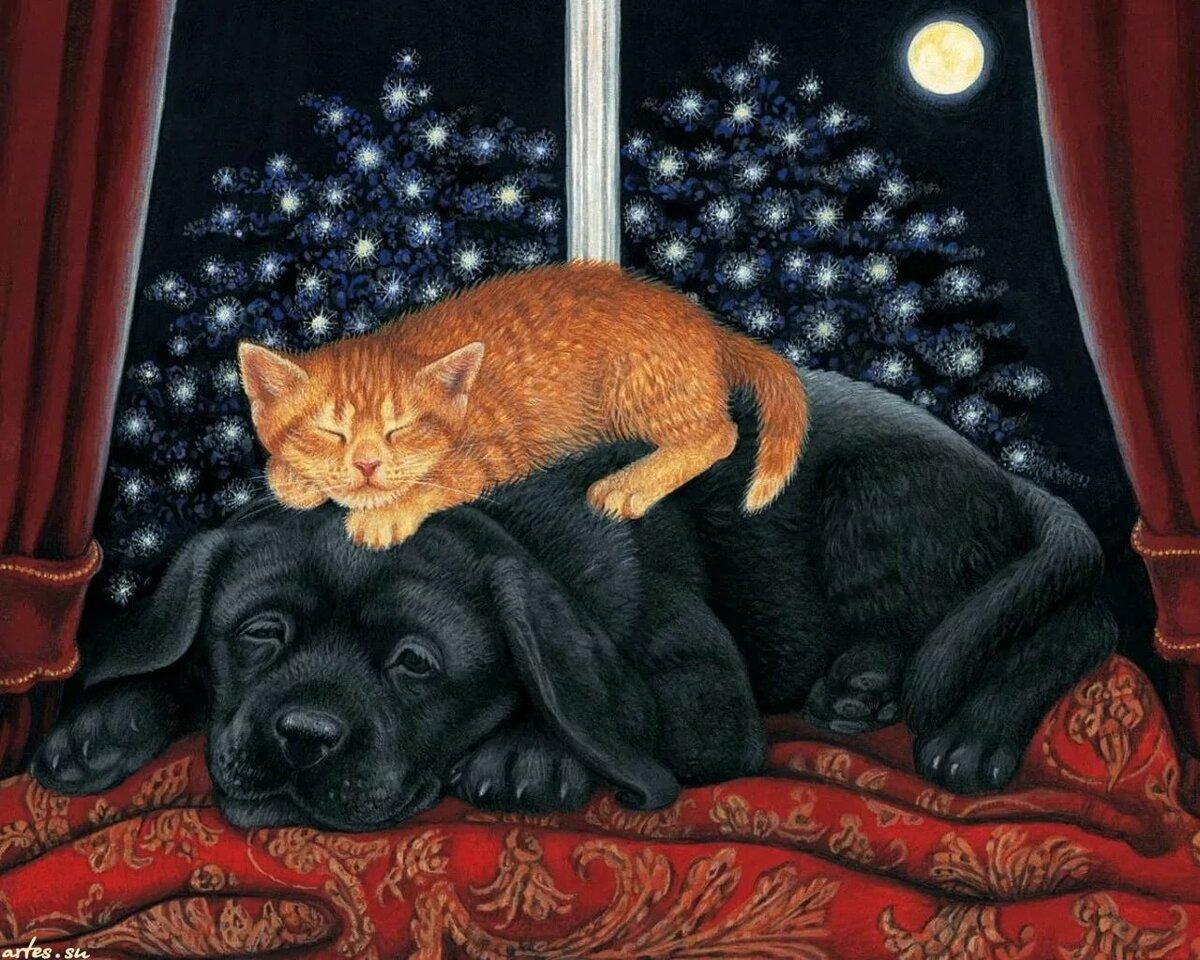 Спокойной ночи картинка котенок щенок