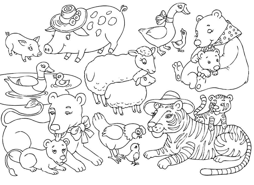 стрижка картинки домашних животных раскраска на одном листе назвала четыре самые