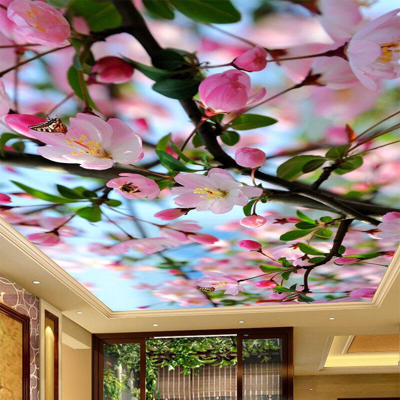 Натяжные потолки с фотопечатью цветы