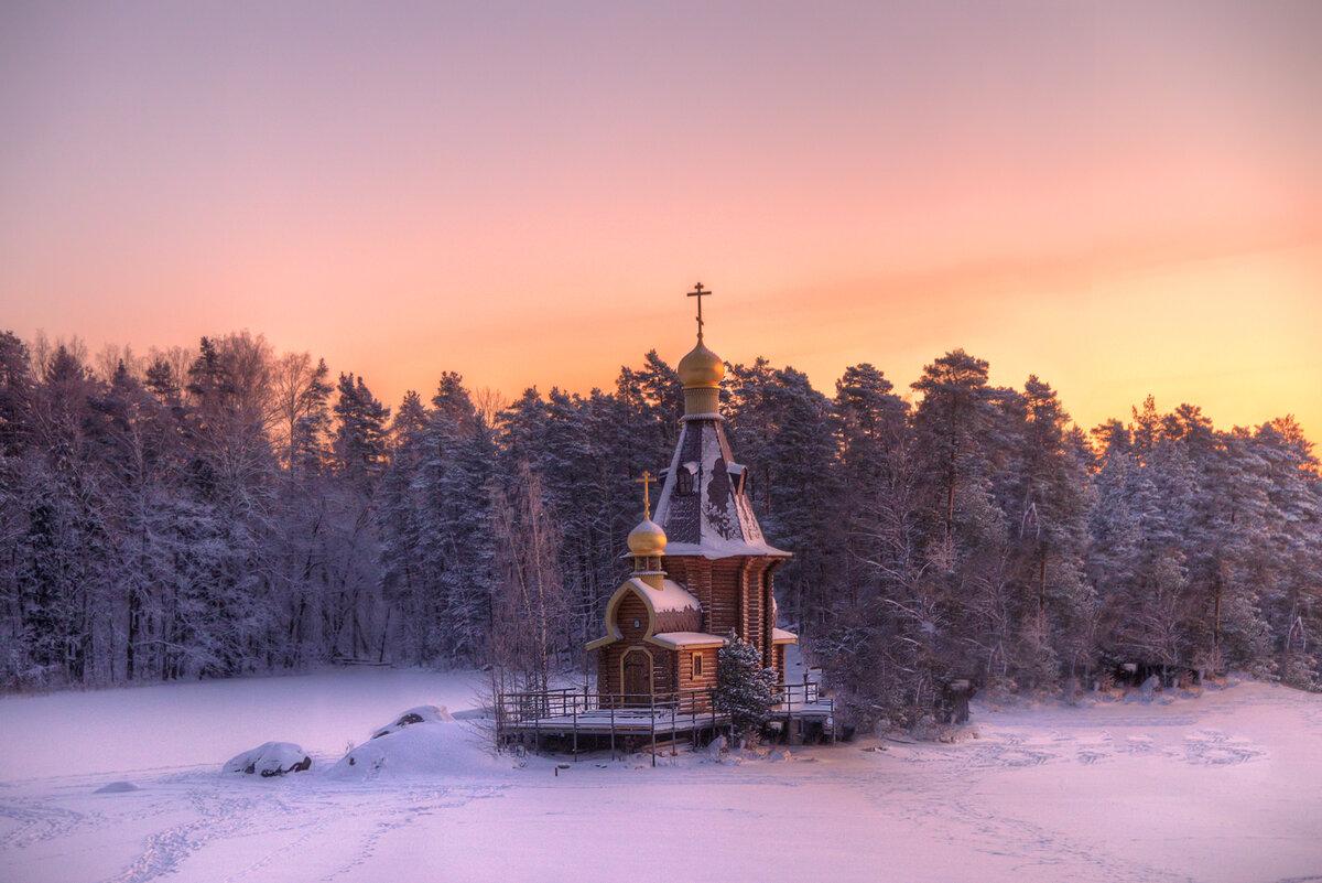 Зимняя фотосессия на озере дома