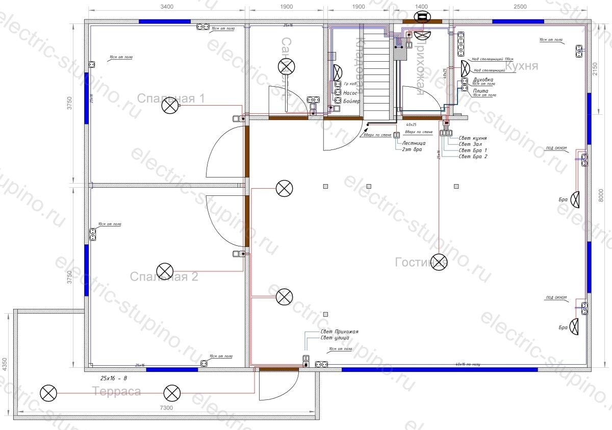 Схема расположения кабельных линий в частном деревянном доме
