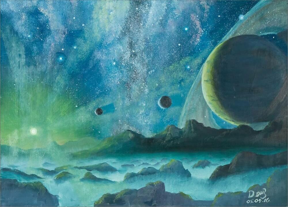 тема космоса в картинах художников истории кое-где слегка