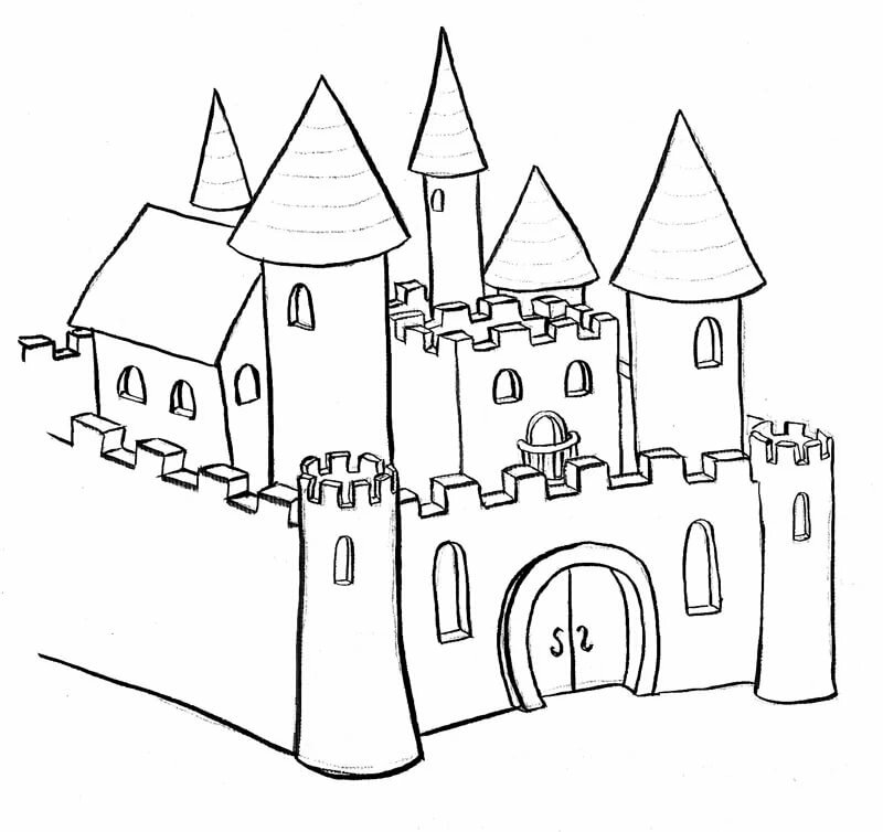 Рисунки замков раскраска