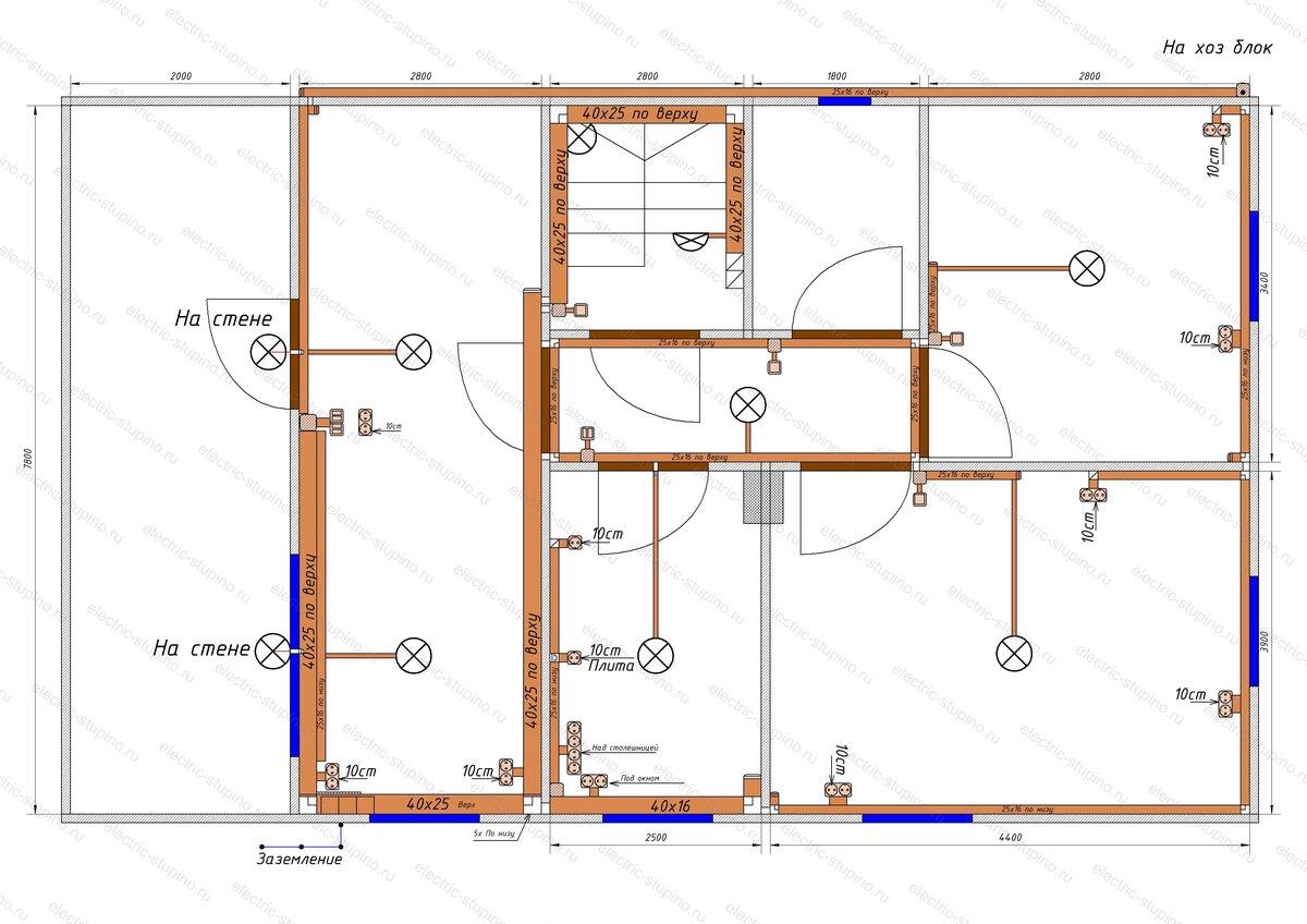 Схема Электропроводки в деревянном доме Кабельные трассы 1 этаж