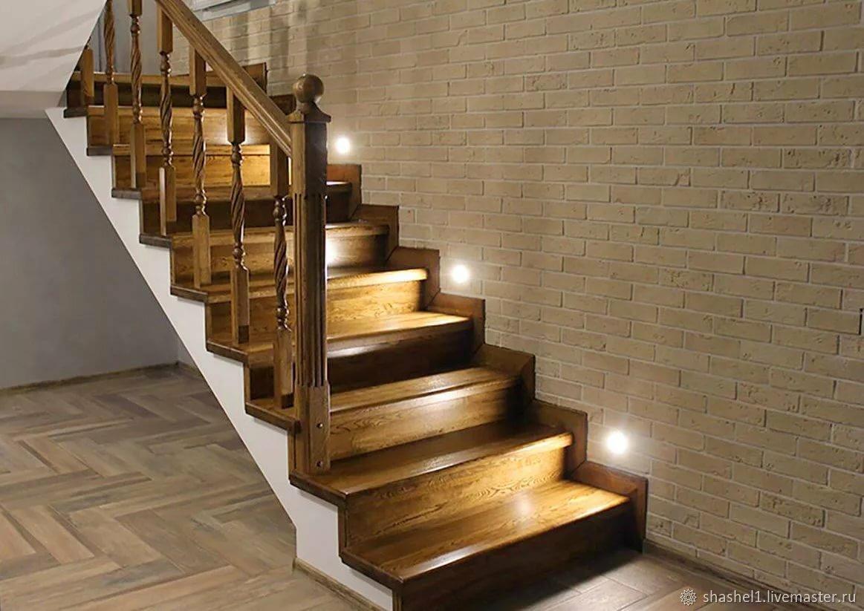 лестница по бетону из дерева
