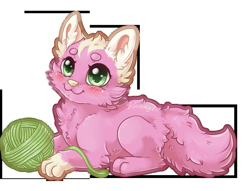 Розовая кошка картинка