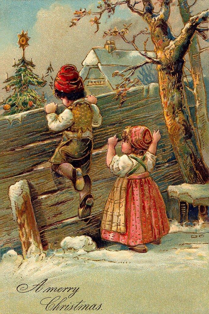 Старые рождественские открытки фото в хорошем качестве, поздравление
