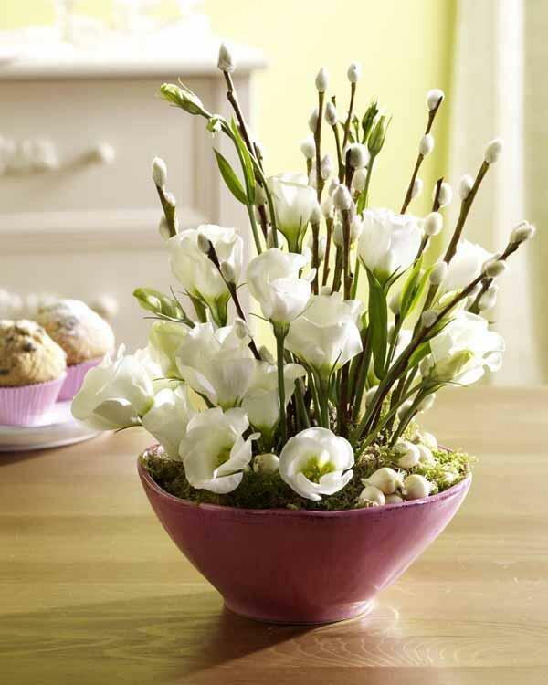 Весенний букет из веток своими руками, хризантем