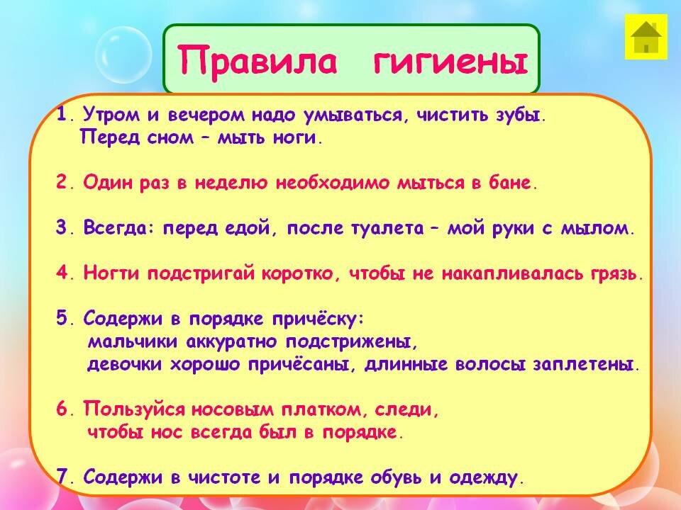 Правила гигиены школьника картинках
