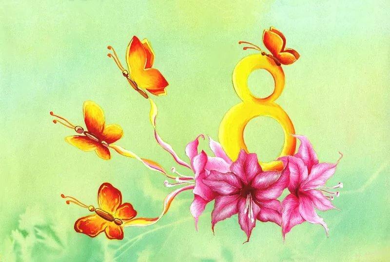 Нарисовать красками открытку на 8 марта, мами томоэ музыкальная