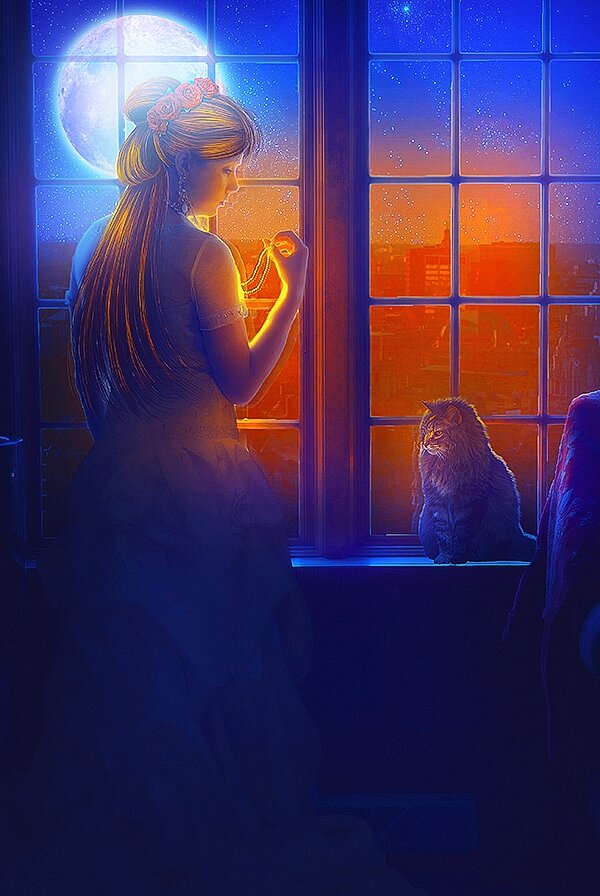Картинка девочка с кошкой смотрит в окно